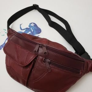 90s Vintage Oxblood Patchwork Leather Fanny Pack